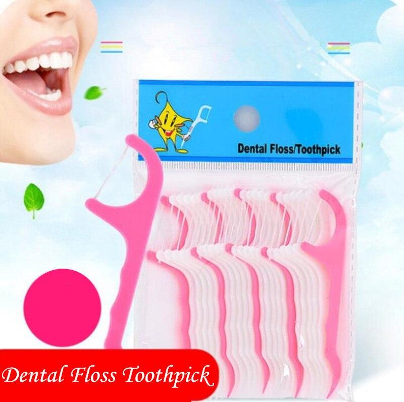 Mundhygiene Obligatorisch 25 Stücke Zahnseide Interdentalbürste Zähne Stick Zahnstocher Zahn Gewinde Floss Pick Kunststoff Zahn Picks Zähne Bleaching Dental Flosser