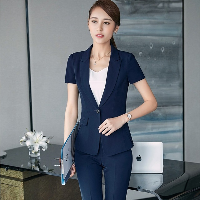 5f8d25cf4c56 2017 Summer Formal Uniform Design Professional Pantsuits With Tops And Pants  For Ladies Office Work Wear Business Women Blazers