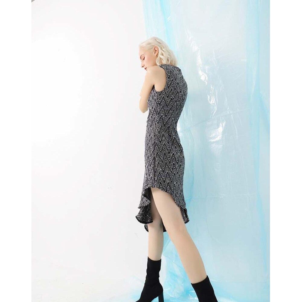 Lap L'automne 1 Robe O Peignée Pour Jacquard 2 Plaid Irrégulière Sirène Style Femmes Manches Sans cou Hiver pattern Vintage Fs0718 Pattern QhsrxtdC