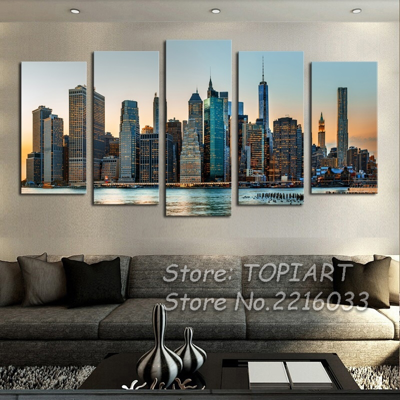 5 Panel Wall Art Canvas Manhattan City New York Decor Wall Pictures Urban Architecture Artwork Large For Home Room (No Frames)
