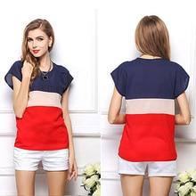 Women Fashion T-Shirt Stripe Splicing Color Short Sleeve Loose Tops Shirt