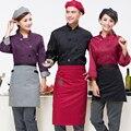 Chefe longo-manga curta-mangas compridas cozinha do hotel restaurante chef chef macacões respirável longo preto e branco feminino