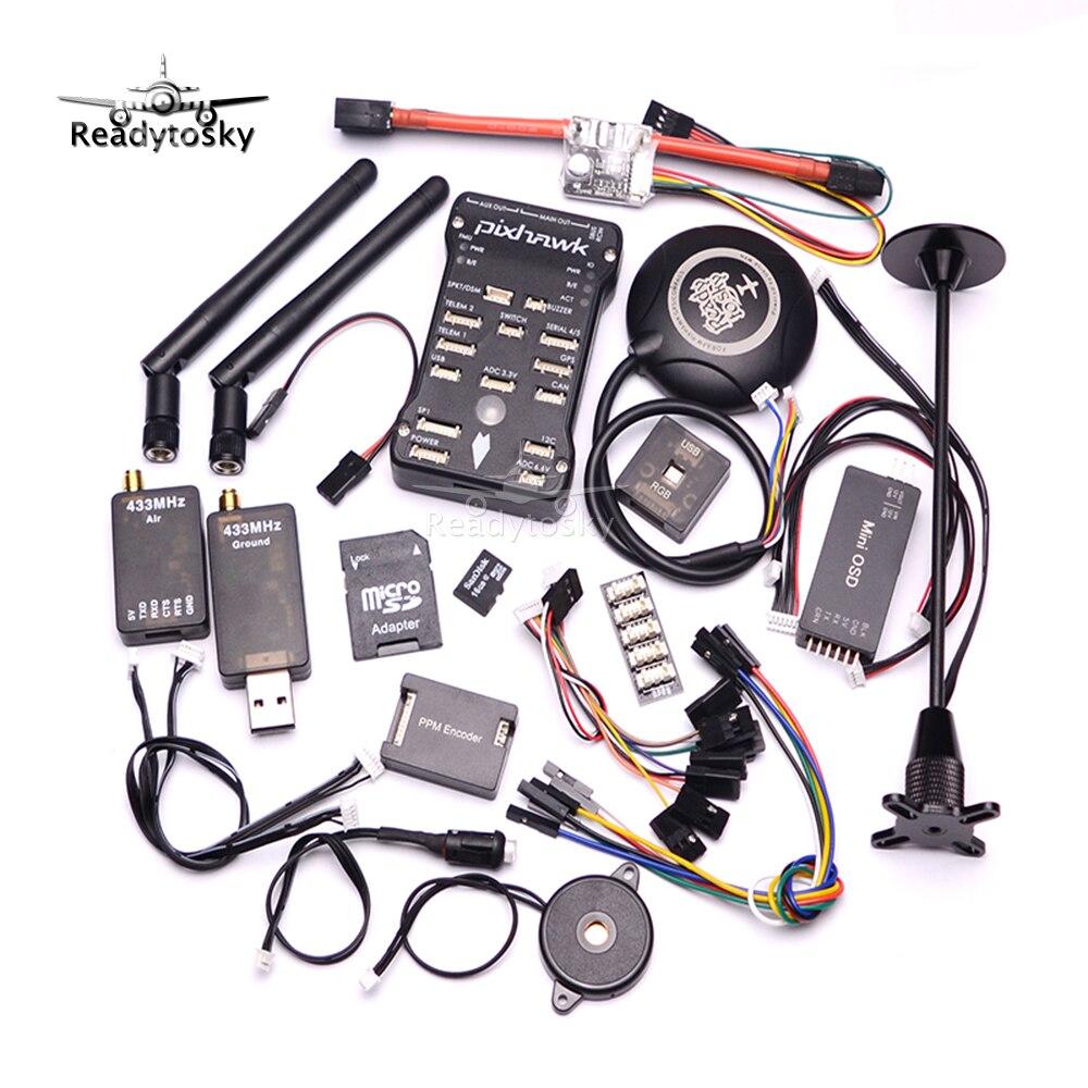 Pixhawk PX4 PIX 2.4.8 32 Bit Flight Controller + 433/915 Telemetrie + M8N GPS + Minim OSD + PM + Sicherheitsschalter + Summer + RGB + PPM + I2C