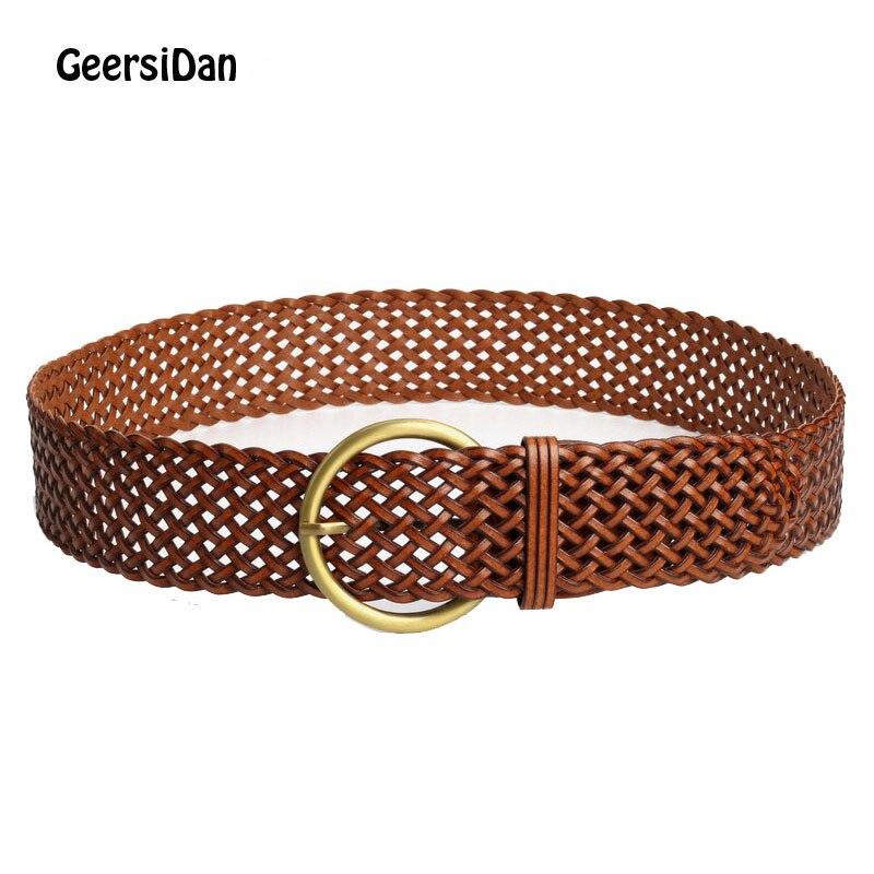 GEERSIDAN 2018 verano mujeres señoras chica moda Cummerbund ancho trenzada PU cuero negro cinturón elástico cinturón de cintura