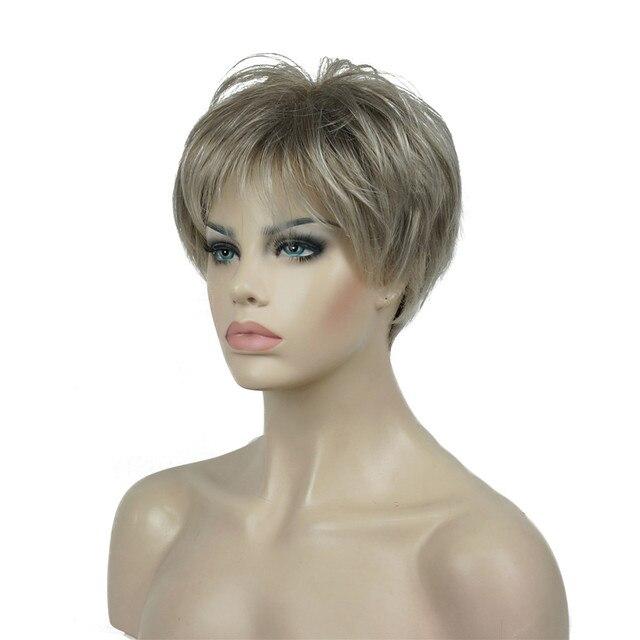 Strong beauty perruque Hai synthétique courte et lisse pour femmes, sans fil, perruque Blonde/noire, 11 couleurs