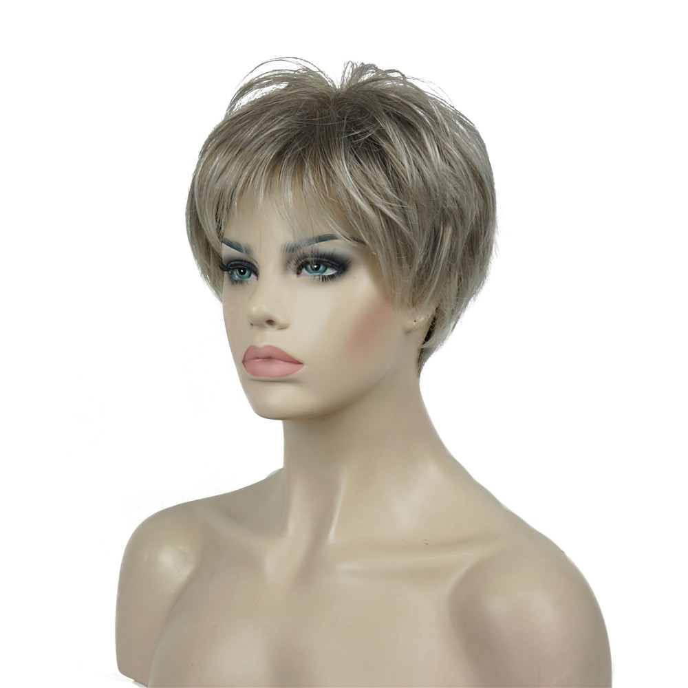 StrongBeauty Women's Wig Short Straight Natural Hai Synthetic Capless Wig Blonde/black 11Color