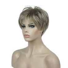 StrongBeauty kadın Peruk Kısa Düz Doğal Saç Sentetik Kapaksız Peruk Sarışın/siyah 11 Renk