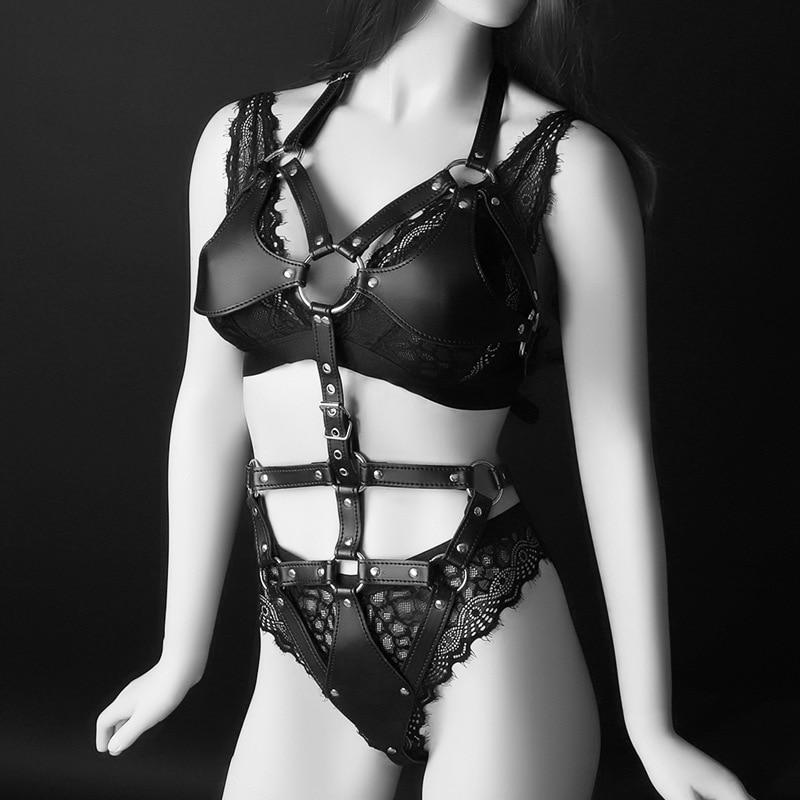 Sexy Leather Bodysuit Halter Bra Harness Strap Black Waist Belt Bondage Lingerie Suspender Women Female Garter Belt Clubwear