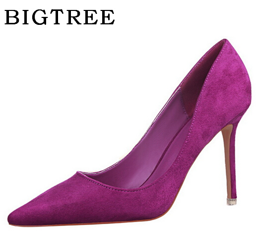 BIGTREE Pumps Women's Shoes 2017 Summer High-heeled 9 cm Korean Version Simple Fashion Pointed Suede Sexy Shallow mouth Shoes bigtree summer shoes women elegant pumps pointed sexy ultra thin high shoes high heeled shoes hollow sweet stiletto g3168 3