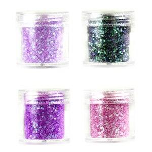 Image 3 - 4 색/세트 아발론 네일 글리터 믹스 세트 Chunky & Fine 0.2 2mm 젤 혼합 네일 글리터 파우더 스팽글 파우더 For UV Nails Art