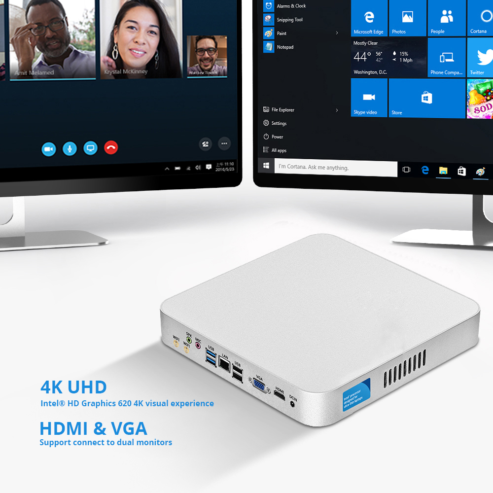 Image 4 - 7th Gen Intel Core Mini PC i7 7500U i5 7200U i3 7100U Windows 10 Linux 4K UHD HTPC HDMI VGA 6*USB 300M WiFi Gigabit Ethernet-in Mini PC from Computer & Office