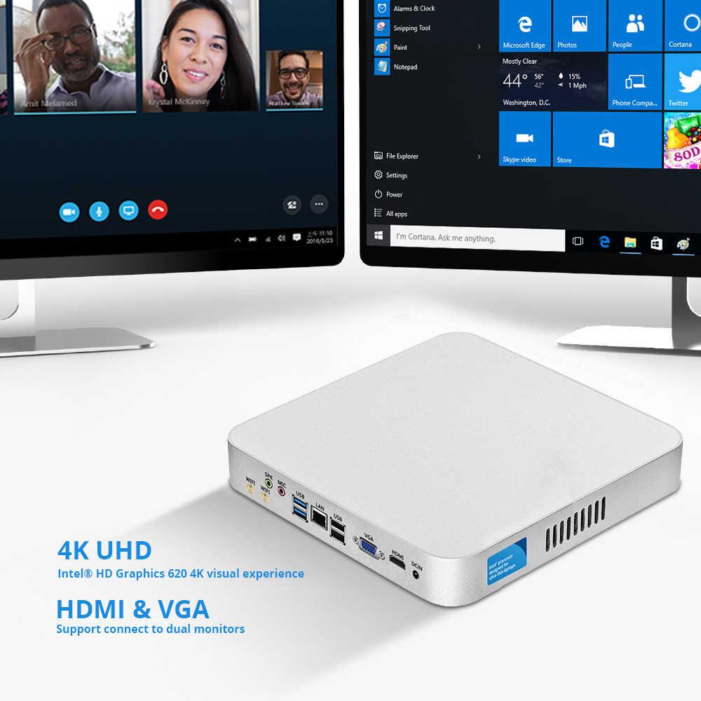 7th поколения Intel Core Мини ПК i7-7500U i5-7200U i3-7100U Windows 10 Linux в формате 4K UHD, HTPC HDMI VGA 6 * USB 300 м Wi-Fi Gigabit Ethernet