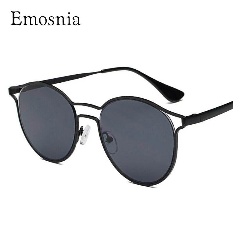 Emosnia Mirror Cateye Goggle Sunglasses Women New Round Oversized Luxury Sun Glasses Italy Brand Metal Oculos De Sol Feminina