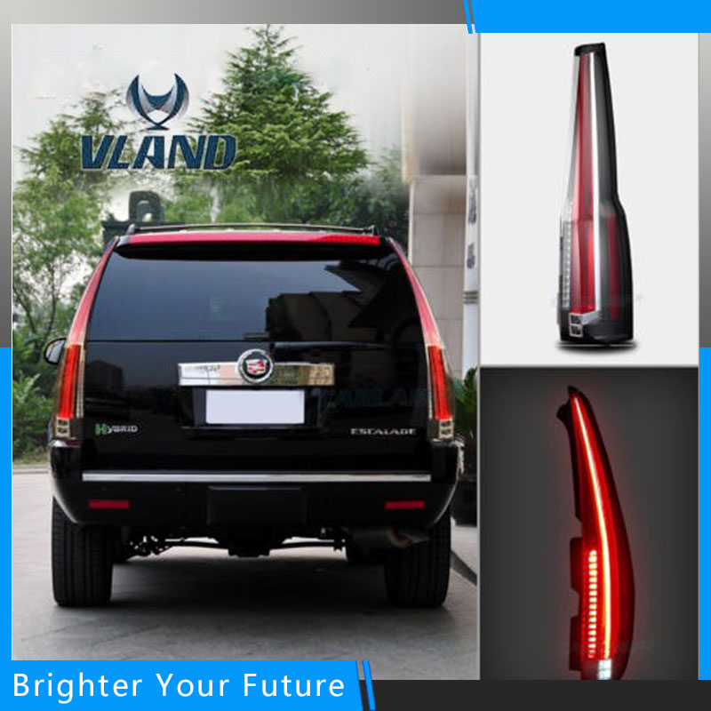 Red Turn Light LED Tail Lights For Cadillac Escalade ESV 2007 2008 2009 2010 2011 2012 2014 Auto Accessories Rear Lamp Assembly for nissan gtr gtr r35 led tail lights 2007 red
