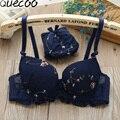 [Quecoo] Зима новый сексуальный вышитые собрать комплекты белья девушки хлопка-сен департамент небольшой груди девушки тонкий AB Чашки бюстгальтера наборы