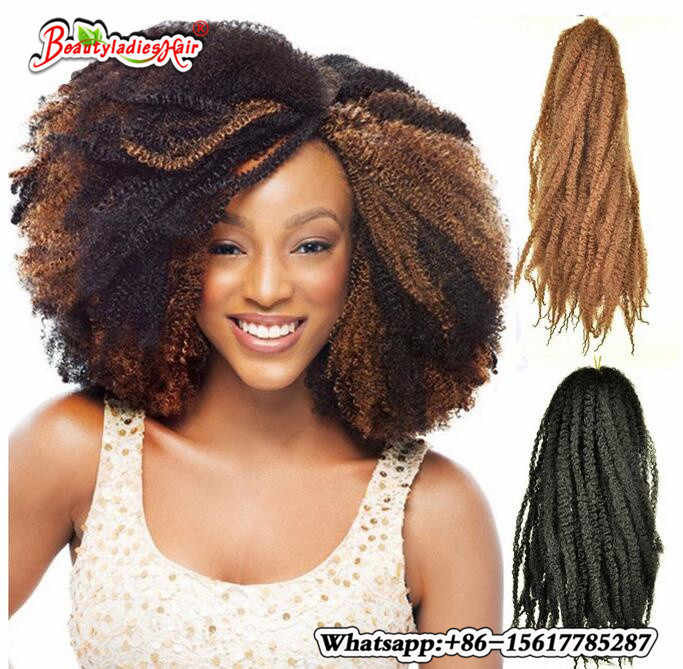 Afro Kinky Marley Braid Extensions Razeal Crochet Braids High Temperature Fiber 18inch Ombre Synthetic Braiding Hair