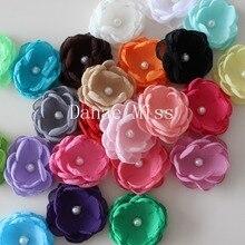 4 см бутик сжигание ткани цветок слоистых Poppy цветок для девочек Детская головная повязка, аксессуары для волос одиночный цветок 120 шт