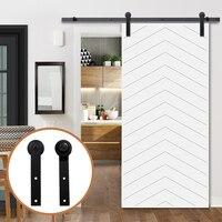 LWZH 6ft 7ft 8ft 9ft Sliding Barn Door Hardware Kit Top Mounted Hanger Track Black Steel Closet Door Roller Rail for Single Door