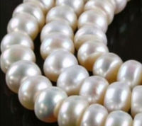 Charming!Flat shaped abacus 8X10mm White pearl loose beads 15