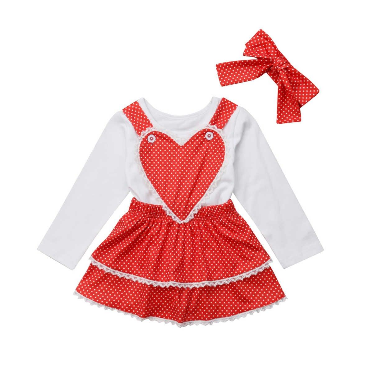 2b38f41bb25 3PCS Set Toddler Kids Baby Girl Clothes Long Sleeve Cotton T-shirt  White+Heart