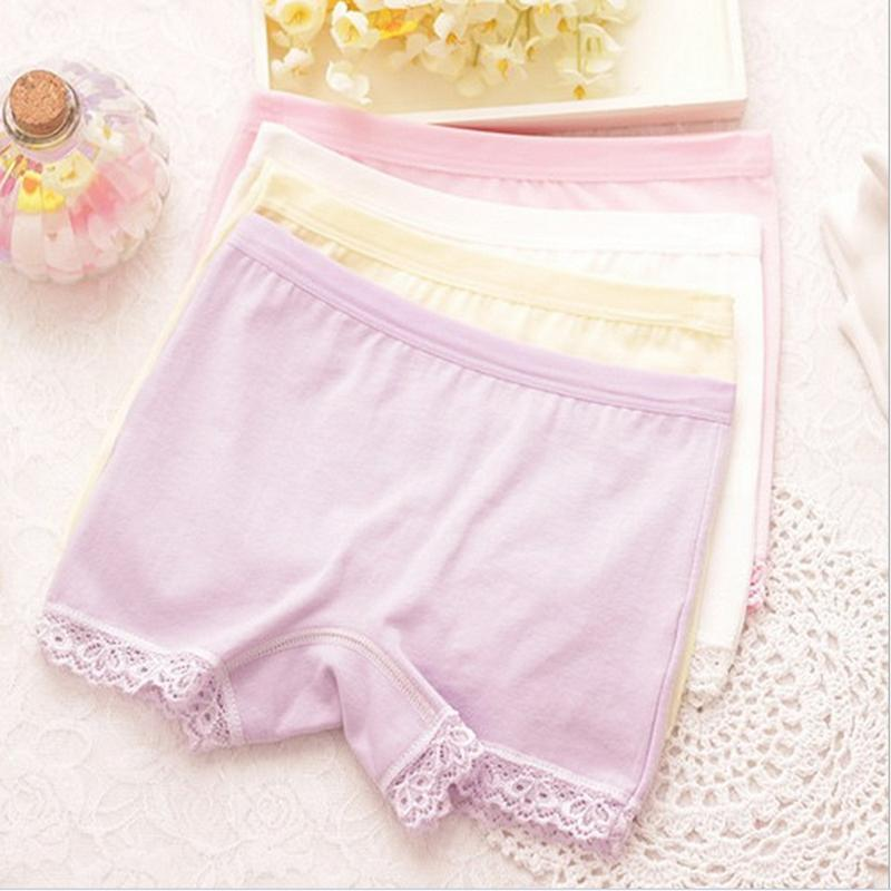 4Pcs / Lot Baby Girls 100% Cotton Lace Underwears Children Bow Boxer Briefs Kids Cute   Panties   For 3-7Y b1TNN0070