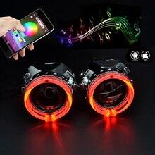2,5 дюймов Автомобильный би ксенон hid объектив проектора с RGB приложение Bluetooth функция ангельские глазки маска лампа автомобильный комплект для сборки для H1 H4 H7