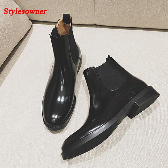 Stylesowner Women Chelsea Martin Boots Black Real Leather Hot Sell 2016 Autumn Winter Short Bootie For Lady Cool Motorcycle Boot