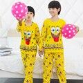 Spring & Autumn 2016 pijamas das Crianças set longo-luva encantador dos desenhos animados do bebê menino roupas de algodão pijama do Menino crianças Sleepwear