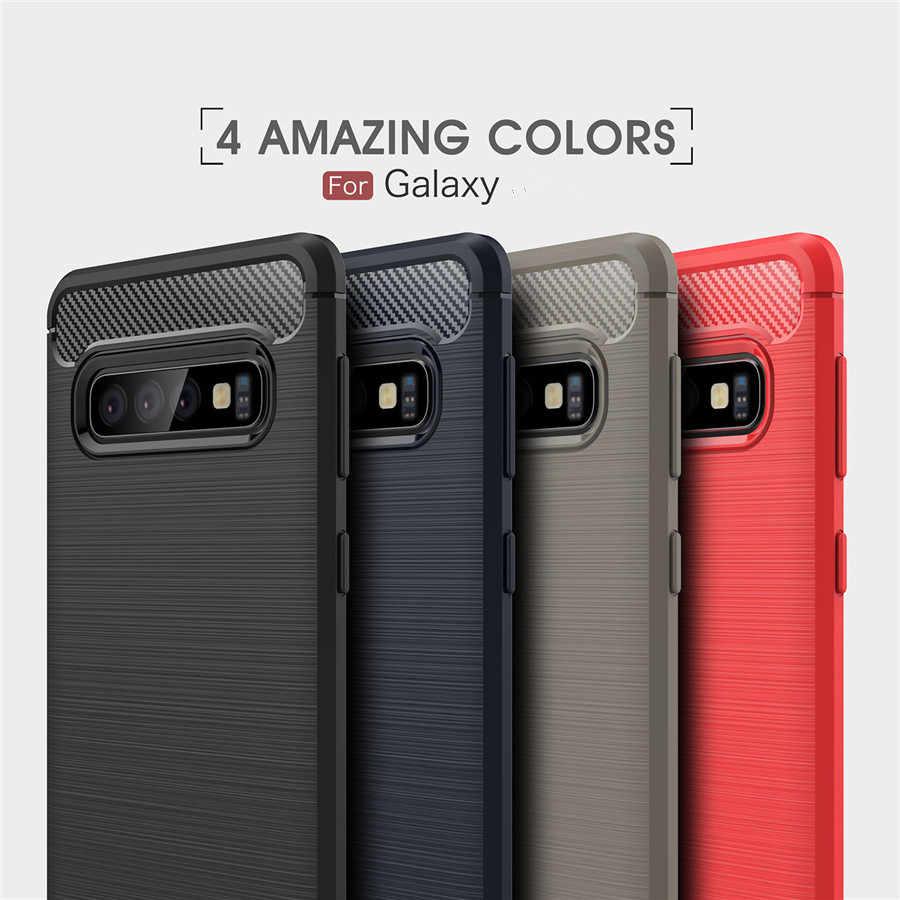 اغلفة السامسونج الهاتف للصدمات غالاكسي S10 S8 S9 J3 J5 J7 2017 J4 J6 Plus J8 2018 غطاء من ألياف الكربون مطاط السيليكون جراب هاتف