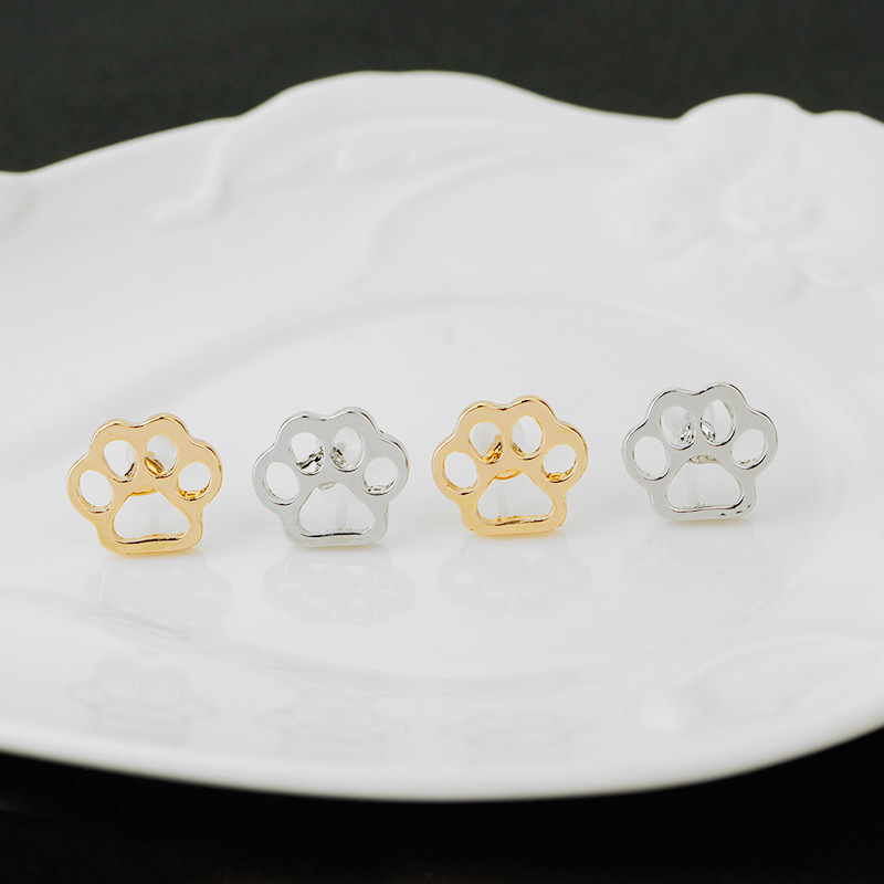 The New  Imported Goods Selling Jewelry Simple Hollow Dog Claws Earrings Cute Pet Tracks Earrings Manufacturers Wholesale