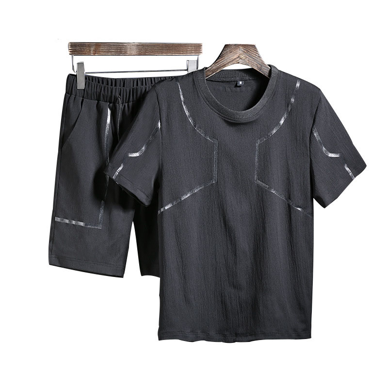 2019 New Fashion Summer Short Sets Men Casual Sporting Suits For Men Two Piece Sets T Shirt +Shorts Men 3xl Striped Tracksuits