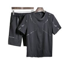 2019 New Fashion Summer Short Sets Men Casual Sporting Suits For Two Piece T Shirt +shorts men 3xl Striped tracksuits