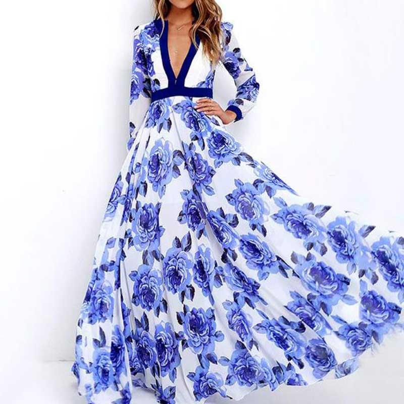 2018 Elegant Bohemian Dress Summer Boho Dress Ladies Women Deep V-neck Female Knitted Floor Length Dress Floral Long Maxi Dress grey deep v neck long sleeves knitted maxi dress