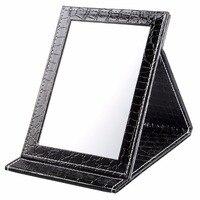 블랙 L 사이즈: 18*25.5*1.6 센치메터 악어 패턴 휴대용 접이식 화장 거울