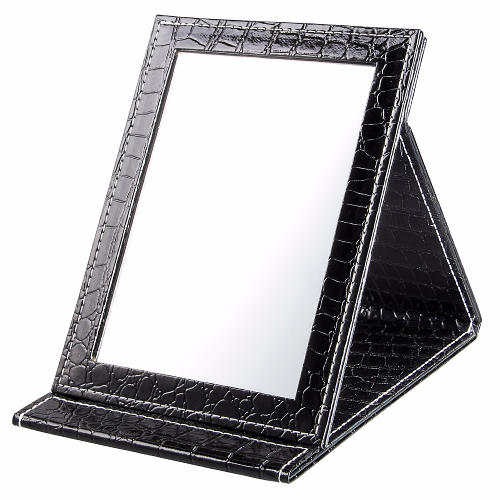 Black Size L 18 25 5 1 6CM Alligator Pattern Portable Foldable Makeup Mirror Leather Cosmetic
