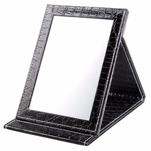 Black Size L:18*25.5*1.6CM Alligator Pattern Portable Foldable Makeup Mirror Leather Cosmetic Mirror Women Beauty Make Up