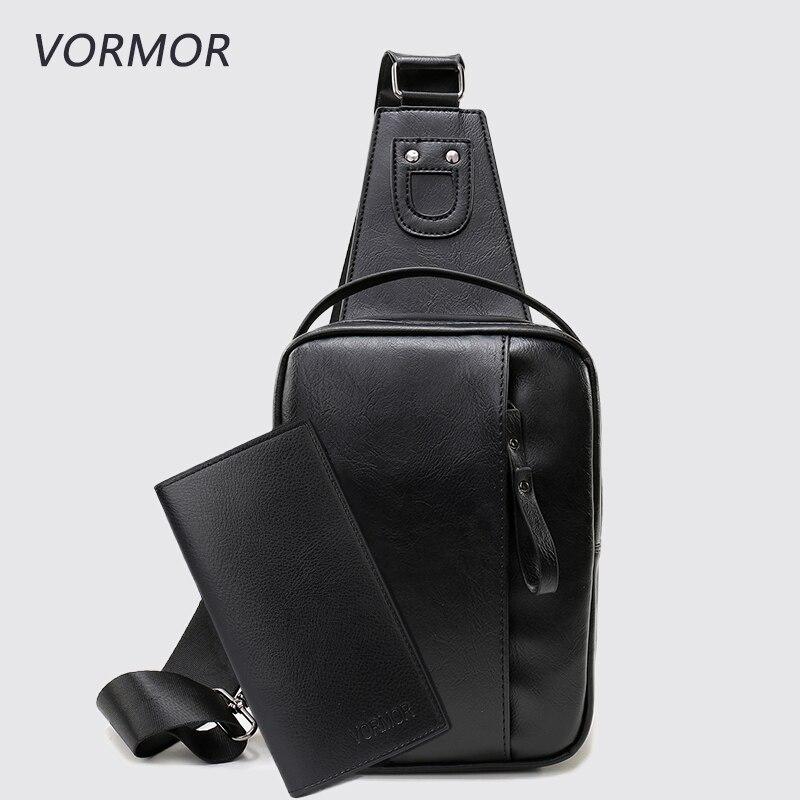VORMOR Men's Fashion Crossbody Bag Soft PU Leather Chest Bags Men Shoulder Bags Chest Waist Pack grey soft plain pu crossbody bag