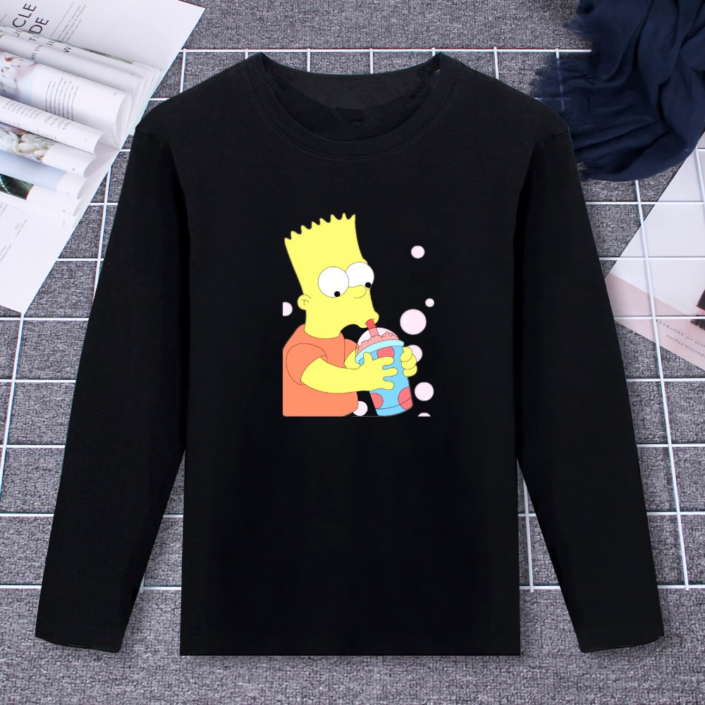 2019 Pure Cotton T-Shirt Simpson Funny Life TV Show Design Printed Long Sleeve Fashion Casual Tops  Tees Brand Unisex Clothing