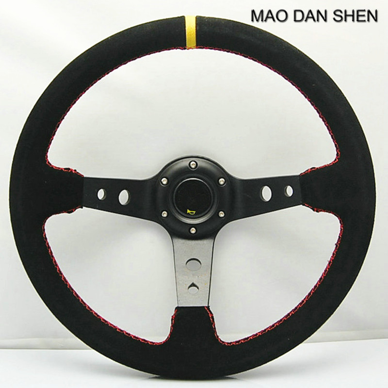 14inch 350mm Suede Leather Deep Dish Corn Drifting Steering Wheel / General Steering Wheel car styling Volante