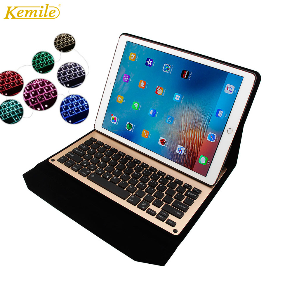 Kemile For Ipad pro 12.9 Keyboard Ultra Thin Backlit Wireless Aluminium Bluetooth Keyboard cover for iPad Pro 12.9 Case Leather case for ipad pro 12 9 ultra thin wireless bluetooth keyboard case cover for ipad 12 9 gift