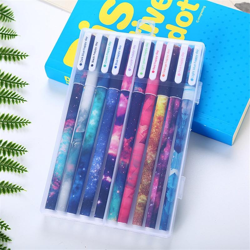 10Pcs Kawaii Gel Pencils Set Cute 0.38mm Color Ink Pens For School Cartoon Animal Canetas Boys Girls Office Writing Stationery