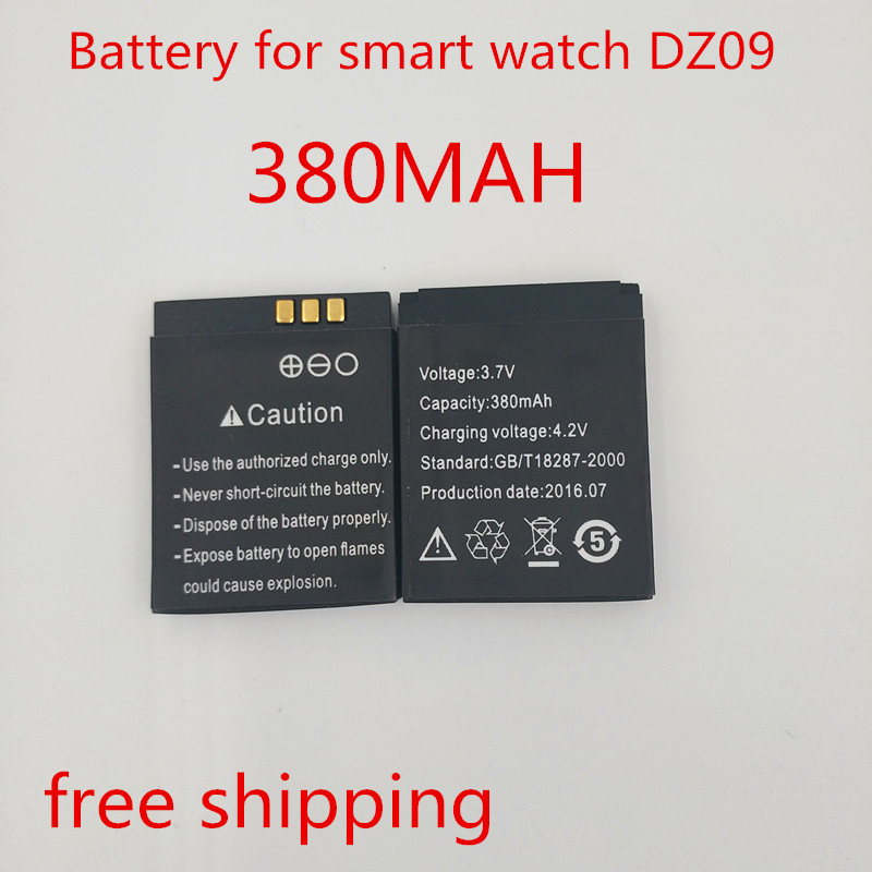 1PCS Lot 2016 new original authentic DZ09 smart watch mobile phone battery 3 7V 380 MAH