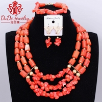 100% Genuine Orange Real Coral Jewelry Set Nigerian Women Wedding Bridal Necklace Set Of Brand Beads New Bridal Jewelry Set 2017