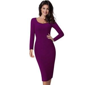 Image 2 - Güzel sonsuza kadar rahat iş Vintage orta buzağı elbise şık kısa ofis bayan katı Scoop boyun tam kollu kılıf kalem elbise b19