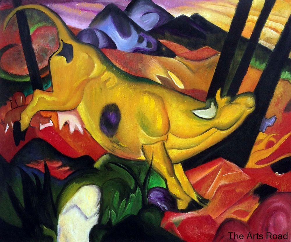 Modern Art Abstract Oil Painting Wall Decor Yellow Cow by Franz Marc Wall Painting Animal Hand Painted hand painted painting animal paintings wall decor - title=