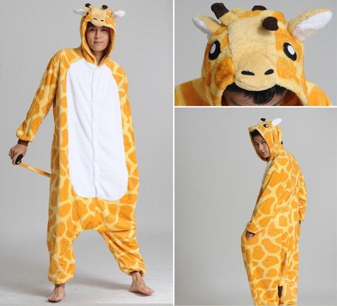 Аниме Косплэй жирафа Пижама для взрослых унисекс Домашняя одежда милый  Комбинезоны для взрослых пижамы Хэллоуин Для женщин пижамы bf4f362ed1154