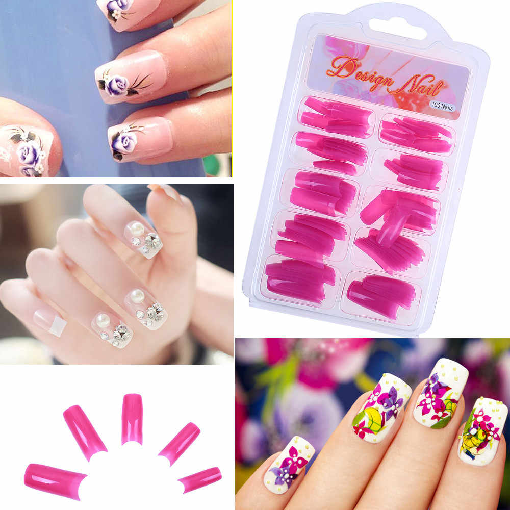 100pcs DIY Clear Acrylic Nail False Fake Nails Art Finger Nail Full Tips Box Set Salon faux ongles False Nails