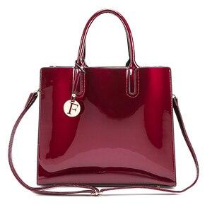 Image 3 - Sacos de moda feminina de couro de patente sólida brilhante senhoras bolsas de luxo simples ombro ocasional mensageiro sacos sac a principal