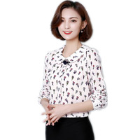 2018 New Elegant Women Spring Autumn Short Chiffon Blouse Female Turn Down Collar Slim Fashion Print