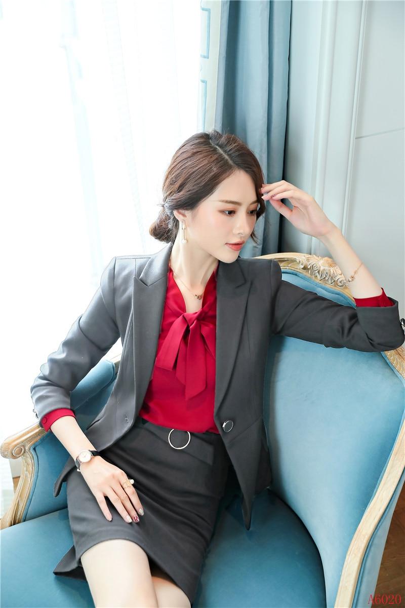 Fiber Vêtements Veste D'affaires Et Bleu Uniforme Ensembles Style Travail marine Blazer Bureau Qualité Haute Femmes De Costumes Noir Jupe gris Dames Formelle fv5Pqn60
